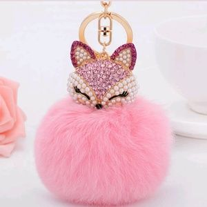 Accessories - Bling kitty bag charm  -Pink